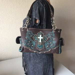 MONTANA WEST Embroidered Turquoise Cross Satchel